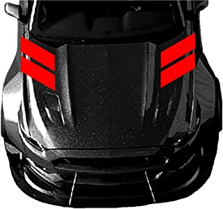 4 Inch Fender Hood Hash Mark Bars Racing Stripes Vinyl Decals, Fits Ford Mustang, Shelby, Both Sides, Red