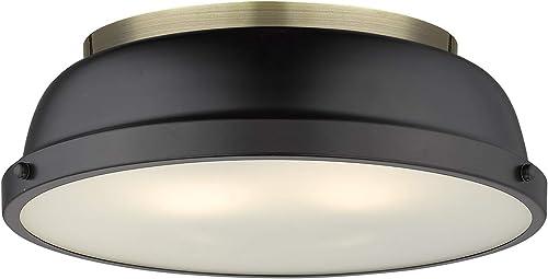 high quality Golden Lighting sale 3602-14 sale AB-BLK Duncan Flush Mount, Aged Brass with Matte Black Shade online