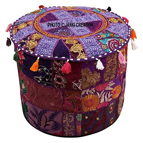 Housse de Pouf bohème indien rond en Patchwork brodé Ottoman décoratif fait à la main, Housse de chaise coton, coussin de salon vintage Taille 33 x 45,7 x 45,7 cm