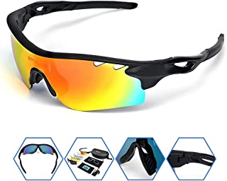 SPOSUNE Polarized Sports Sunglasses OTG Glasses with 5 Set Interchangeable Lenses for Men Women PC Unbreakable Frame for Cycling Running Fishing Golf Baseball Glasses