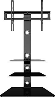 comprar comparacion BONTEC Soporte Giratorio de Suelo para LCD LED Plasma Flat Curved TVs de 30-65 Pulgadas, con 3 estantes de Vidrio Templado...