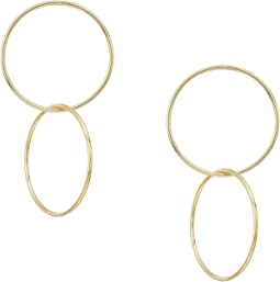 Kenneth Jay Lane Polished Gold Double Circle Drop Post Earrings