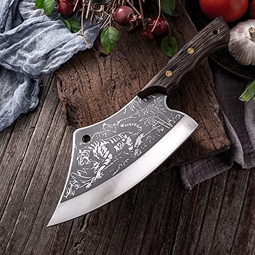 Tajado Cuchillo de cuchilla cuchillo afilado Tigre Patrón de acero inoxidable Cuchillos de acero inoxidable Pecado de pollo Pescado Masticidad Slicker Chopper Butcher