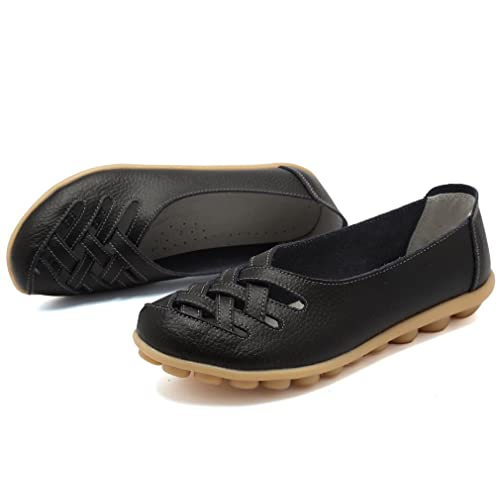 f1b3849ae2e KEESKY Women s Leather Casual Cut Out Loafers Flat Slip-on Shoes