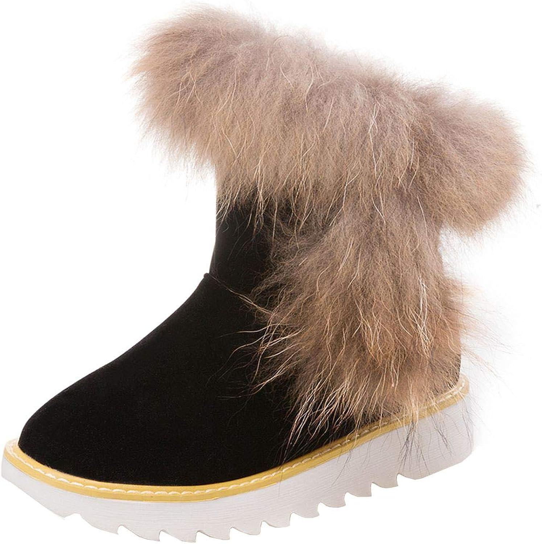 Vitalo Womens Low Heel Winter Warm Snow Flat Faux Fur Furry Ankle Boots