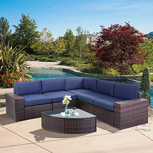 SUNCROWN Outdoor Furniture 6-Piece Patio Sofa and Wedge Table Set, All-Weather Brown Wicker with Washable Seat Cushions and Coffee Table(Navy Blue)