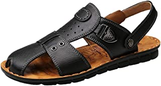 Men Sandals Sandals for Men Fashion Slipper Shoes OX Leather Elastic Heel Dual Purpose Metaldecor Comfortable
