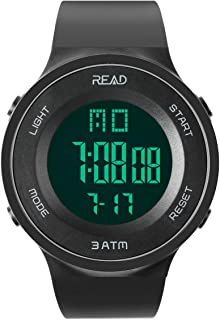 Timemaker Men Women Digital Sports Watch, Military Outdoor Led Display Watches Large Face Watch with Stopwatch, Alarm, Calendar and EL Backlight in Black