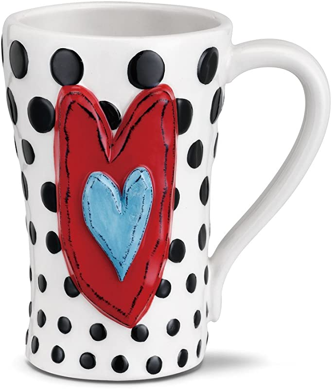 Black Dots Heart Red White Blue 15 Ounce Glossy Stoneware Mug With Handle