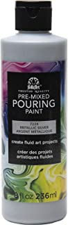 FolkArt Pre-Mixed Acrylic Pouring Paint, 8 oz, Silver
