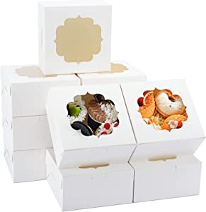 TOMNK 50pcs 6 Inch White Bakery Boxes with Window Cookie Boxes Dessert Boxes Pastry Boxes for Strawberries Cupcakes Chocolate Muffins Donuts and Party Favor 6x6x3 Inches