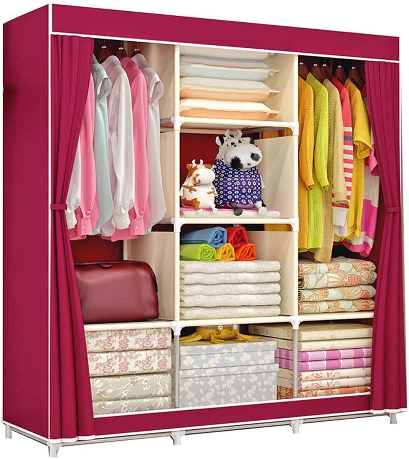 QD- Cloth Wardrobe-Thick Steel Frame Simple Assembly Wardrobe Closet, Home Fabric Foldable Portable Economy Wardrobe (color   E)