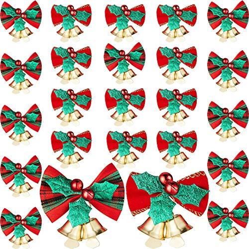 24 Stück Weihnachtsschleife mit Glocken Weihnachtsbaum Hängekranz Dekorationen Bowknot Band Schleifen für Weihnachtsbaum Geschenke Dekorationen Charms Ornamente 2 Stile