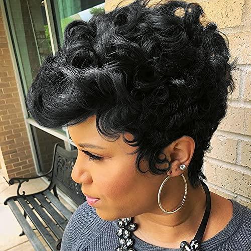 Nigteye Short Pixie Cut Wigs for Black Women Natural Black Short Cut 6'' Wigs for Women Pixie Cut Short Synthetic Fiber Hair wigs for Women