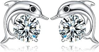 Orris Sterling Silver Diamond Mounted Cute Cartoon Little Stud Earrings for Women Little Girls