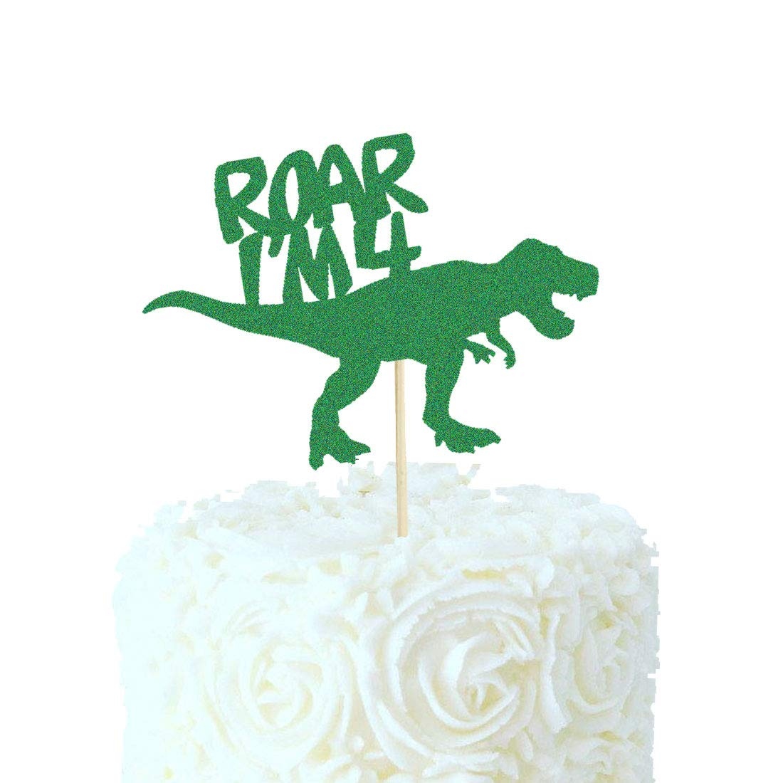 HEETON Roar I'm 4 Cake Topper Dinosaur Four Birthday Jurassic Park T-Rex 4th Birthday Boy Party Supplies Decorations