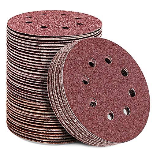 YAOBLUESEA Papel de Lija 125mm, 120 Unidades de Discos Abrasivos para Lijadora, Discos de Lijado para Excéntrica de Madera y Color, Grano de 20x40/60/80/120/180/240, Lijadora Excéntrica 8 Agujeros