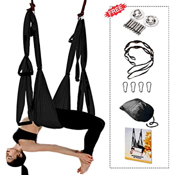 Aokitec Aerial Yoga Swing Set - Flying Yoga Hammock Trapeze Sling Kit Antigravity Ceiling Hanging Inversion Tool, Ceiling Anchors & 2 Extension Straps for Beginners Adults & Kids Gym/Home Fitness