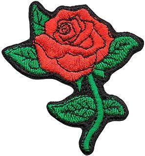 Aplique Patch Bordado Modinha - Flor Rosa Vermelha DV80754- Termocolante Para Aplicar
