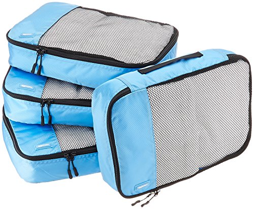 AmazonBasics 4 Piece Packing Travel Organizer Cubes Set - Medium, Sky Blue