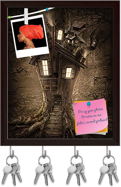 Artzfolio Fantasy Tree House D2 Key Holder Hooks   Notice Pin Board   Dark Brown Frame 16 X 19.8Inch