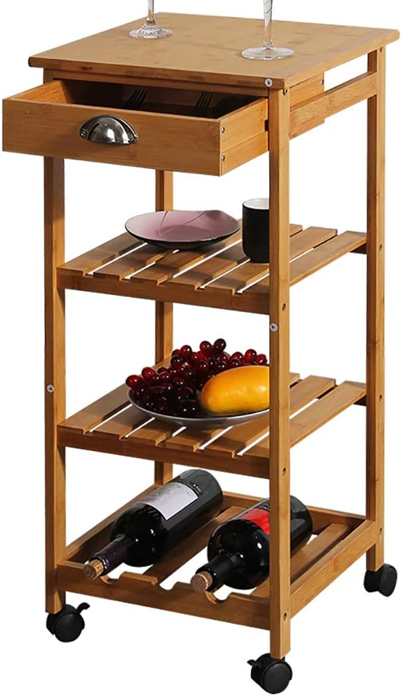 Kitchen Bamboo Multi-Layer Long-awaited Rack Corner Wheel with Portland Mall Removab Frame