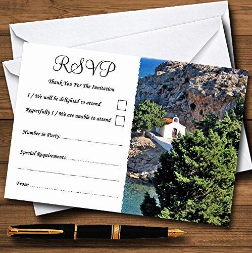 Heart St Pauls Lindos Rhodos gepersonaliseerde RSVP kaarten 30 RSVP Cards