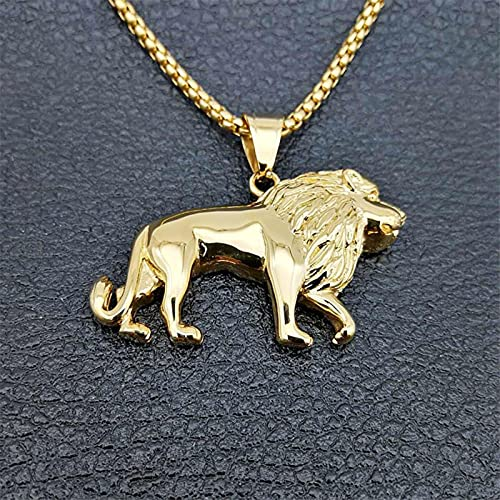 SONGK Collar de León de Acero Inoxidable para Mujeres/Hombres, Colgante de Cabeza de león de Color Dorado, joyería de Animales, León de África, Regalo etíope