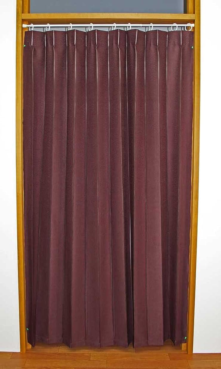 指標秋肌カーテン 間仕切り 形状記憶加工 アコーディオンカーテン アイリス ブラウン 11542 幅140cm×丈178cm
