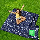 """ISOPHO Outdoor Picnic Blanket Extra Large, Machine Washable Fold Camping Blanket, 3-Layer Sand Proof, and Waterproof Picnic Mat, 55.1""""X 78.7"""" Portable Blanket for Camping, Park, Beach, Family(Doggie)"""