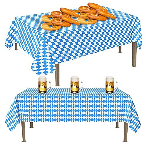 KOIROI Tischdecke Oktoberfest, Bayerisches Deko für Bierzelten Bier Festival Party München Geburtstag, Bayerische Partybevorzugungen, Bayrisch Blau Tischdecken (2 Stück)