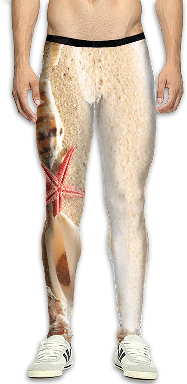 Techdecorhomee Mens Compression Leggings Yoga Pants Summer Beach Starfish Seashells Workout Tights High Waist Sports Jogger White