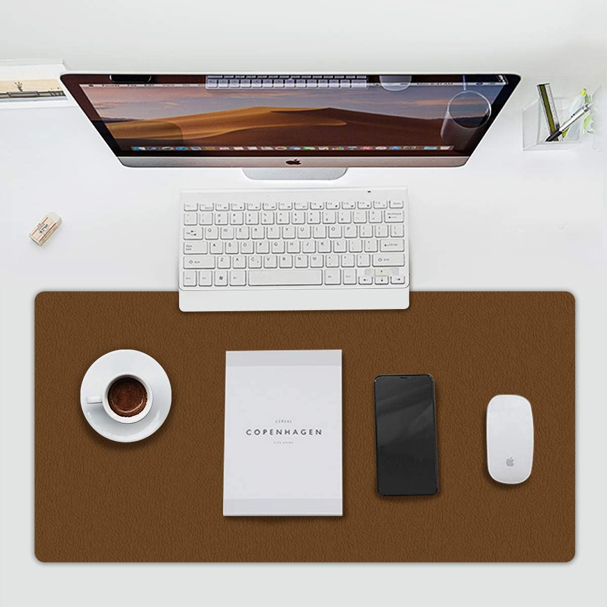 Multifunctional Office Desk Pad Luosu Ultra Thin Waterproof PU Leather Mouse Pad, Dual Use Desk Writing Mat for Office/Home (Brown, 23.6''13.7'')