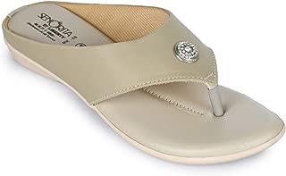 Liberty Tiptopp Ladies Casual Beige Thong Slippers (MK-08-BEIGE-LYCRA_6/39)
