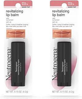 Neutrogena Revitalizing Lip Balm SPF 20, Petal Glow [40], 0.15 oz (Pack of 2)