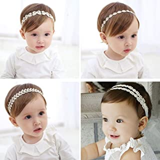 Baby Toddler Elastic Chiffon Flower Headbands,4PC Princess Girls Hand Sewing Beads Flower Headwear Nylon Elastic Headband Cotton Lace Toddler Hair Band Toddler Soft Headwrap