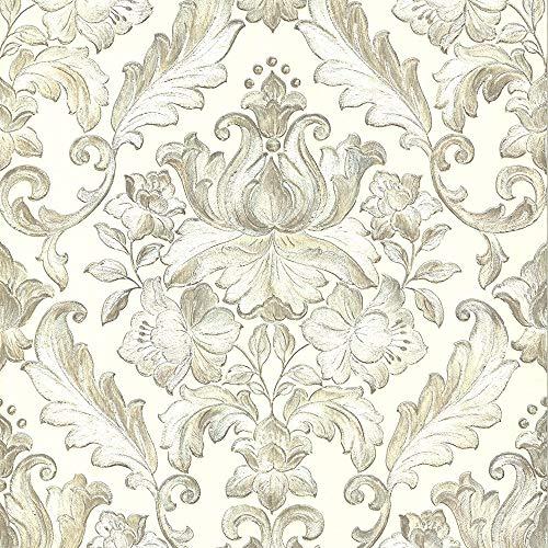 """Muriva 2057310.05m""""style italien Rana Damas de luxe épais à coller au mur"""" Papier peint-Argent-P, ivoire, 20574, 0 voltsV"""