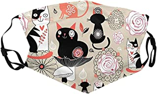 kolila Womens Reusable Facemasks Face Protective Coverings Cute Cat Printed Washable Face Covering Reusable Face Covering ...