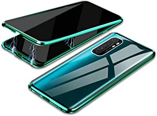 EUDTH Mi Note 10 Lite Case, Anti-peep Case Magnetic Adsorption Metal Frame + Tempered Glass Cover Full Body Protective Cas...