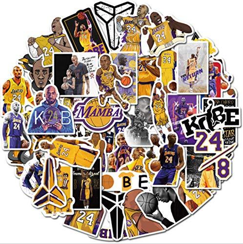 Later NBA Star Kobe baloncesto negro mamba pegatina equipaje portátil teléfono 50PCS