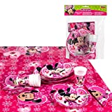 Disney - Pack de fiesta reciclable Minnie: mantel, platos, vasos, servilletas...
