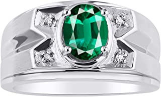 RYLOS Mens Ring with Oval Shape Gemstone & Genuine Sparkling Diamond Ring in 14K White Gold - 8X6MM Color Stone