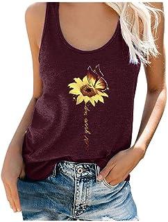 Women Round Neck Tank Tops, Ladies Plus Size Floral Printed Sleeveless T-shirt Vest Top