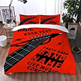 Qinniii Bedsure Funda Nórdica,Cartel Musical con un Riff de Guitarra en la Forma de un Fondo de Eagle Rock,Fundas Edredón 220 x 240 cmcon 1 Funda de Almohada 40x75cm