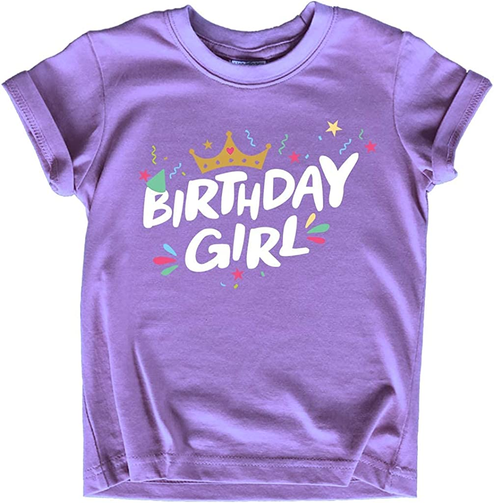 Birthday Girl Shirt Crown 1st First 2nd Two 3rd 4th 5th Toddler Birthday Outfit (Purple, 12 Months)