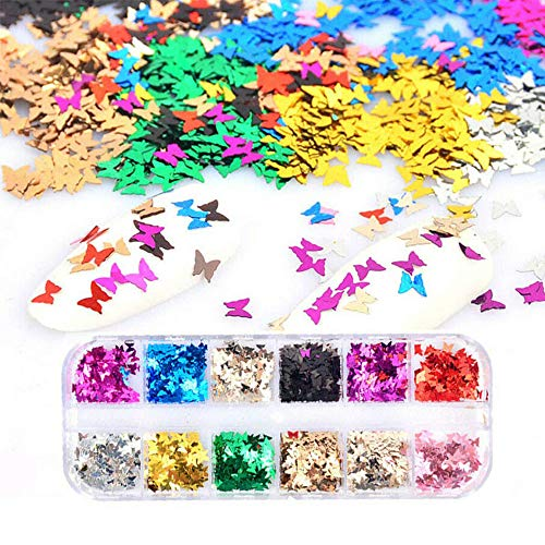 SIUSIO 16g 12color Laser Chunky Glitter Butterfly Sequin Nails Art Multicolor Decorations Accessories Ultra Thin Holographic Flake for Designer or Beginners DIY Design and Face Body Eye Makeup