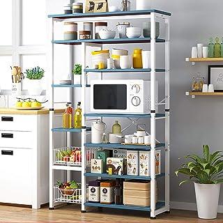 LINPAN Rangement Cuisine Organisateur étagère Cuisine Baker Stand à Micro-Ondes Rack avec 2 Fils Panier Multi-Purpose 6 Ni...