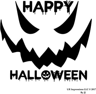 MBlk 24in. Happy Halloween Spooky Face Decal Vinyl Sticker Graphics|UR Impressions|Car Truck SUV Van Wall Window Door Laptop|Matte Black|24 X 20.5 Inch|JJURI150-MB
