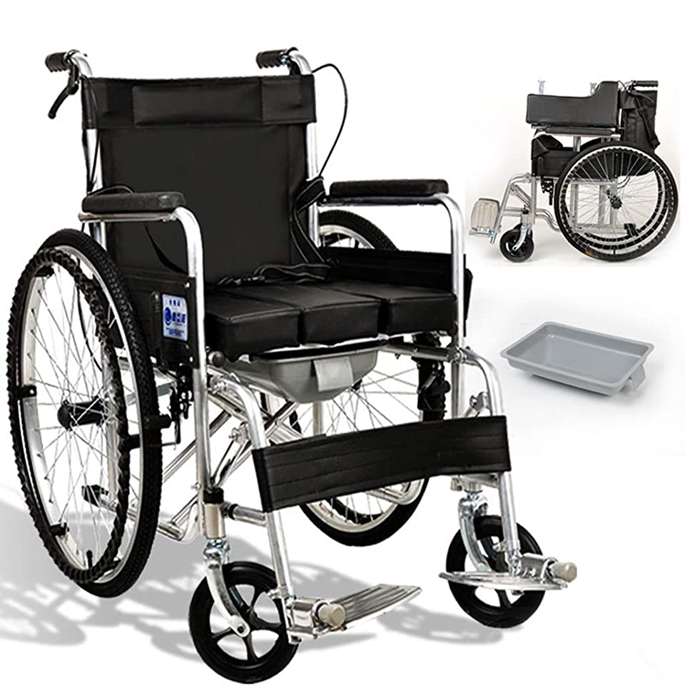 電気回復微弱プル型U字型トイレ、フロントおよびリアブレーキ付き車椅子高齢者用ポータブルトロリー。折りたたみ式ポータブル多機能車椅子