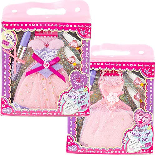 PECOWARE メモ帳 ボールペン ヘアクリップ セット バレエ ドレス型 リップスティック型 ピンク 文房具 ノート ペン ヘア クリップ 雑貨 子供 キッズ こども 女の子 ギフト (ミックス)